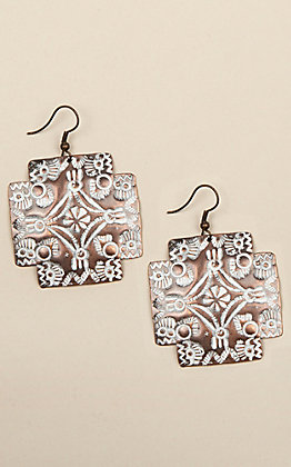 Amber's Alline Copper Cross Concho Earrings
