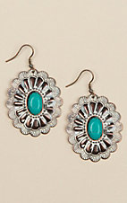 Amber's Allie Copper and Turquoise Concho Earrings