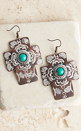 Amber's Allie Copper and Turquoise Cross Earrings
