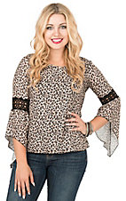 Wired Heart Women's Leopard with Crochet Inlay on Bell Sleeve Fashion Top