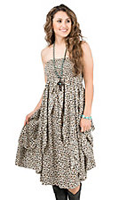 Wired Heart Women's Cheetah Print with Tulip Ruffled Front and Back Convertible Skirt / Dress