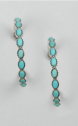 Amber's Allie Turquoise & Silver Hoop Earrings