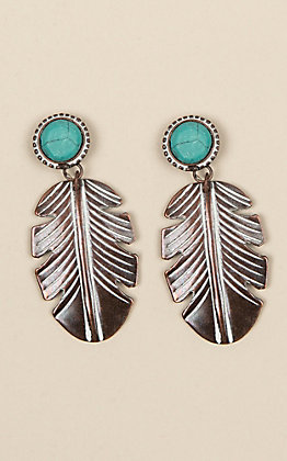 Amber's Allie Copper Turquoise Feather Earrings
