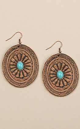 Amber's Allie Brown Leather Concho with Turquoise Center Stone Earrings