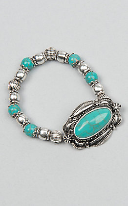 Ambers Allie Turquoise and Silver Beads with Concho Stretch Bracelet