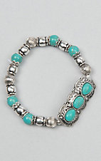 Amber's Allie Turquoise and Silver Stretch Bracelet