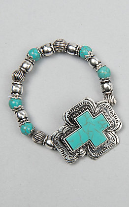 Ambers Allie Turquoise and Silver Beads with Cross Concho Stretch Bracelet