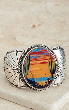 Amber's Allie Silver Cactus Desert Print Concho Stretch Bracelet