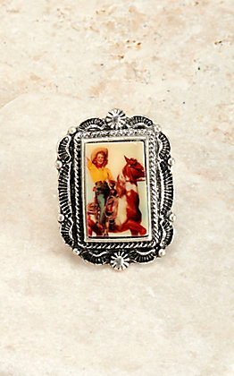 Amber's Allie Silver with Cowgirl on Horse Print Ring