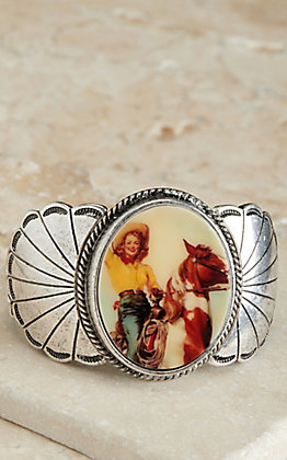 Amber's Allie Silver Cowgirl on Horse Print Concho Stretch Bracelet
