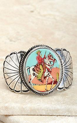 Amber's Allie Silver Cowboy Print Concho Stretch Bracelet