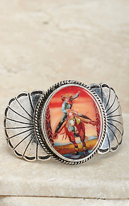 Amber's Allie Silver Desert Cowgirl Print Concho Stretch Bracelet