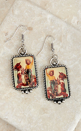 Amber's Allie Silver with Cowgirl on Horse Print Rectangle Dangle Earrings