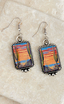 Amber's Allie Silver with Cactus Desert Print Rectangle Dangle Earrings
