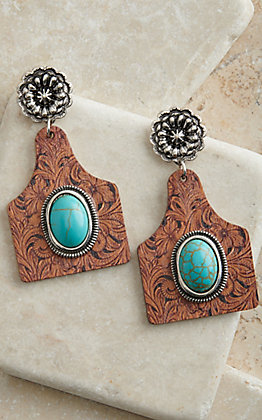 Amber's Allie Brown Tooled Print Ear Tag with Turquoise Stone Wooden Earrings
