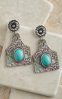Amber's Allie Patina Tooled Print Ear Tag with Turquoise Stone Wooden Earrings
