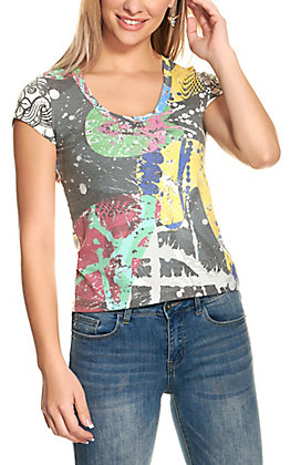 For Keeps Women's Multi-Color Graphic Short Sleeve T-Shirt