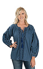 Grace in LA Women's Denim Embroidered Fashion Shirt
