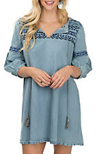 Grace in LA Women's Denim Embroidered Dress