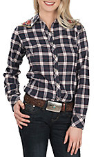 Grace in LA Women's Navy Plaid w/ Floral Embroidery L/S Western Shirt