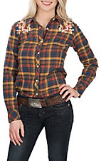 Grace in LA Women's Gold Plaid with Floral Embroidery L/S Western Shirt