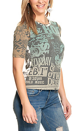 For Keeps Women's Teal and Brown Elbow Length Sleeve T-Shirt