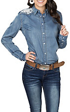 Grace in LA Women's Denim with Lace Insert L/S Western Snap Shirt