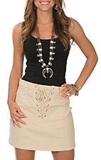 Berry N Cream Cream Lace Up Mini Skirt