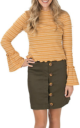 Berry N Cream Women's Olive Side Button Skirt