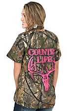 Country Life Women's Camo with Neon Pink Bone Logo & Skull Design Short Sleeve Tee