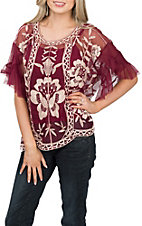 Umgee Women's Wine Sheer Embroidered Fashion Top