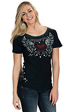 Sinful by Afflicition Women's Wish Reversible Scoop Neck Tee