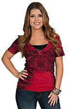 Sinful by Affliction Women's Red Lock Stock V-Neck Short Sleeve Tee