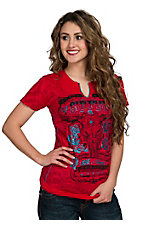 Affliction Women's Love & Roses Tomato Burnout Short Sleeve Tee