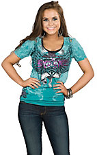 Sinful by Affliction Women's Teal Lustful Short Sleeve V-Neck Tee