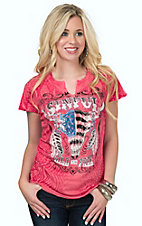 Sinful by Affliction Women's Rose Topeka Rain Flag Skull Logo Short Sleeve Tee