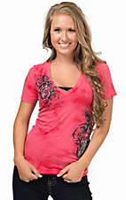 Sinful by Affliction Women's Rose Celeste Short Sleeve V-Neck Tee
