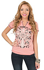 Sinful by Affliction Women's Heather Salmon Rosita Short Sleeve Western Tee