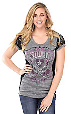 Sinful by Affliction Women's Grey with Black Lace Short Sleeve Casual Knit Top