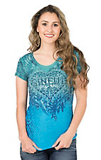 Sinful by Affliction Women's Jewel Blue with Black and White Graphics Reversible Short Sleeve Casual Knit Top
