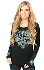 Sinful by Affliction Women's Black with Lace Long Sleeve Casual Knit Top