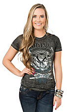 Sinful by Affliction Women's Grey Burnout with Silver, Black, and Blue Screen Print Design Short Sleeve Casual Knit Top