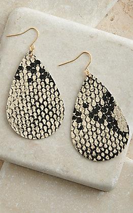 Amber's Allie Metallic Gold with Black Snake Print Teardrop Earrings
