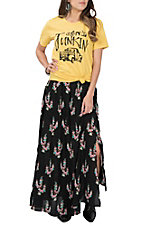 Berry N Cream Women's Black Floral Cactus Print Skirt