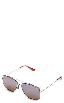 BEX Pilot Gold and Brown Polarized Sunglasses