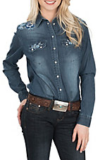 Grace in LA Women's Denim Embroidered L/S Western Snap Shirt