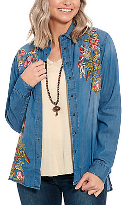 Grace in L.A. Women's Light Denim Embroidered Fashion Top