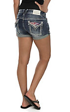 Vigoss Women's Dark Wash with American Flag Detail Button Down Pocket Shorts
