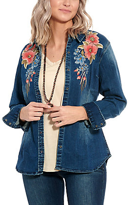 Grace in L.A. Women's Denim Floral Embroidered Fashion Top