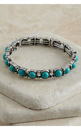 Amber's Allie Silver with Turquoise Stones Stretch Bracelet